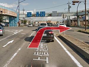 1.須坂長野東ICを出て右車線に入り、須坂方面へ右折