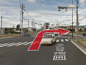 2.国道403を道なりに進み「幸高町」交差点を右折